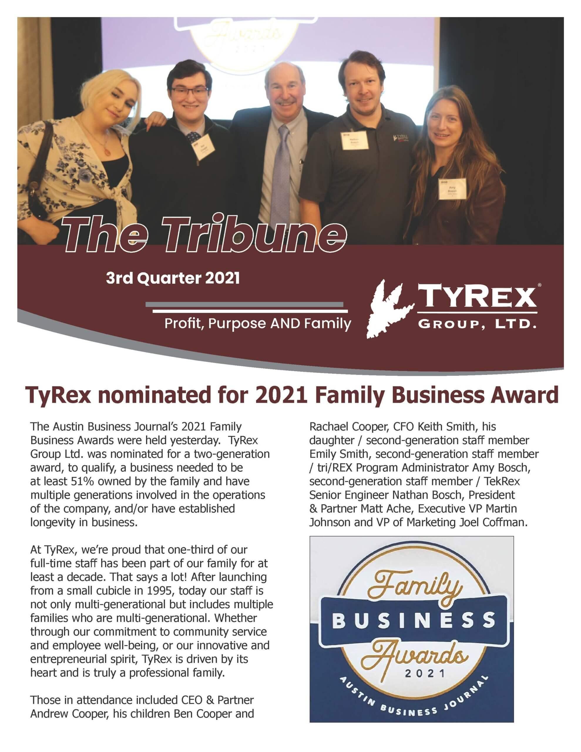 TyRex Tribune Q3, 2021 Front Page