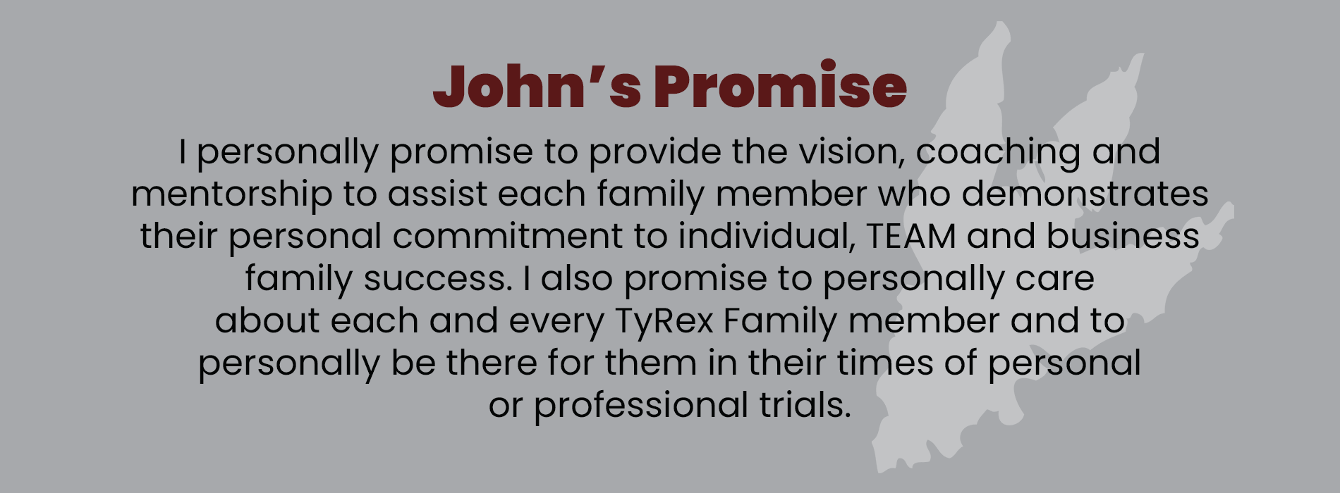 John Bosch, Jr. Promise to TyRex Family