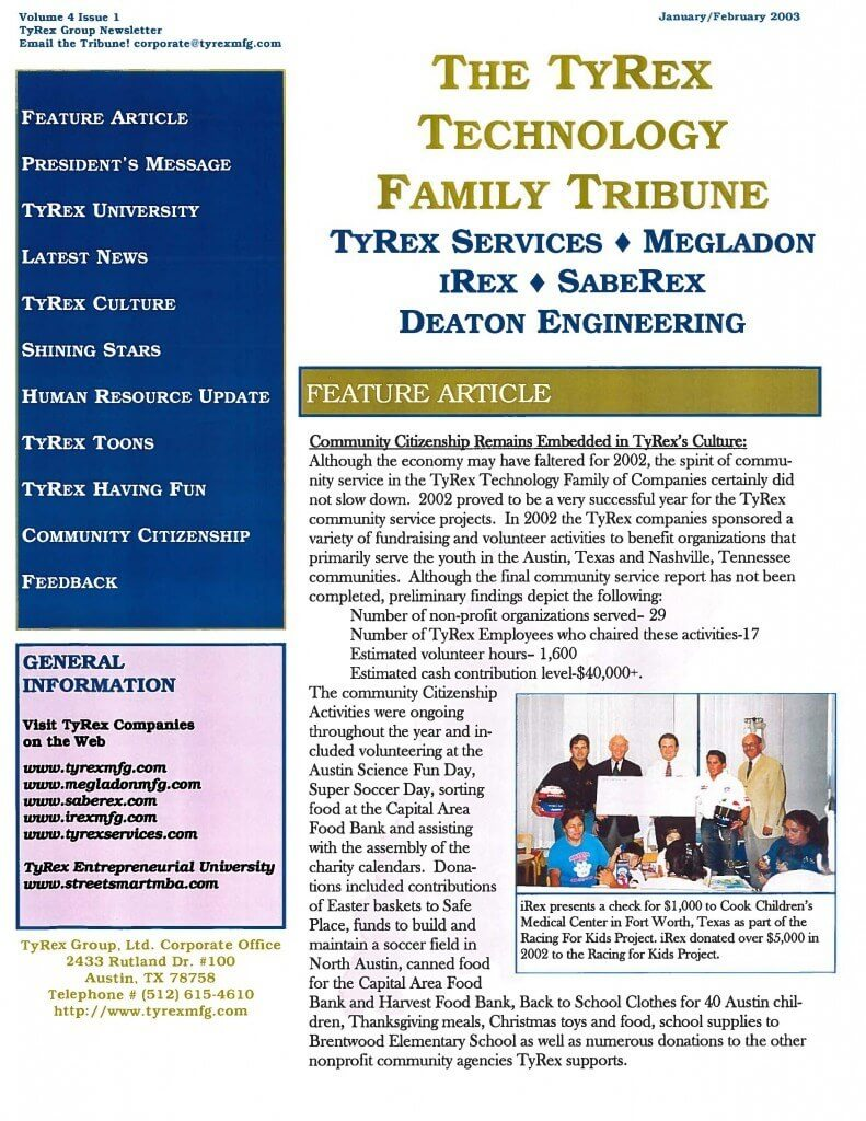 TyRex Newsletter: Jan-Feb (2003)
