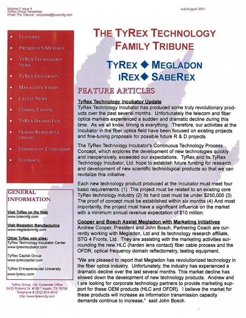 TyRex Newsletter: July-Aug (2001)