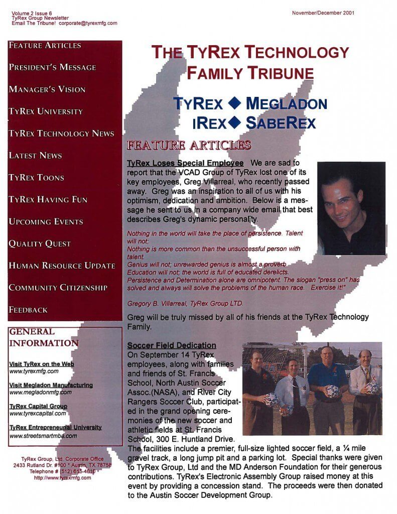 TyRex Newsletter: Nov-Dec (2001)