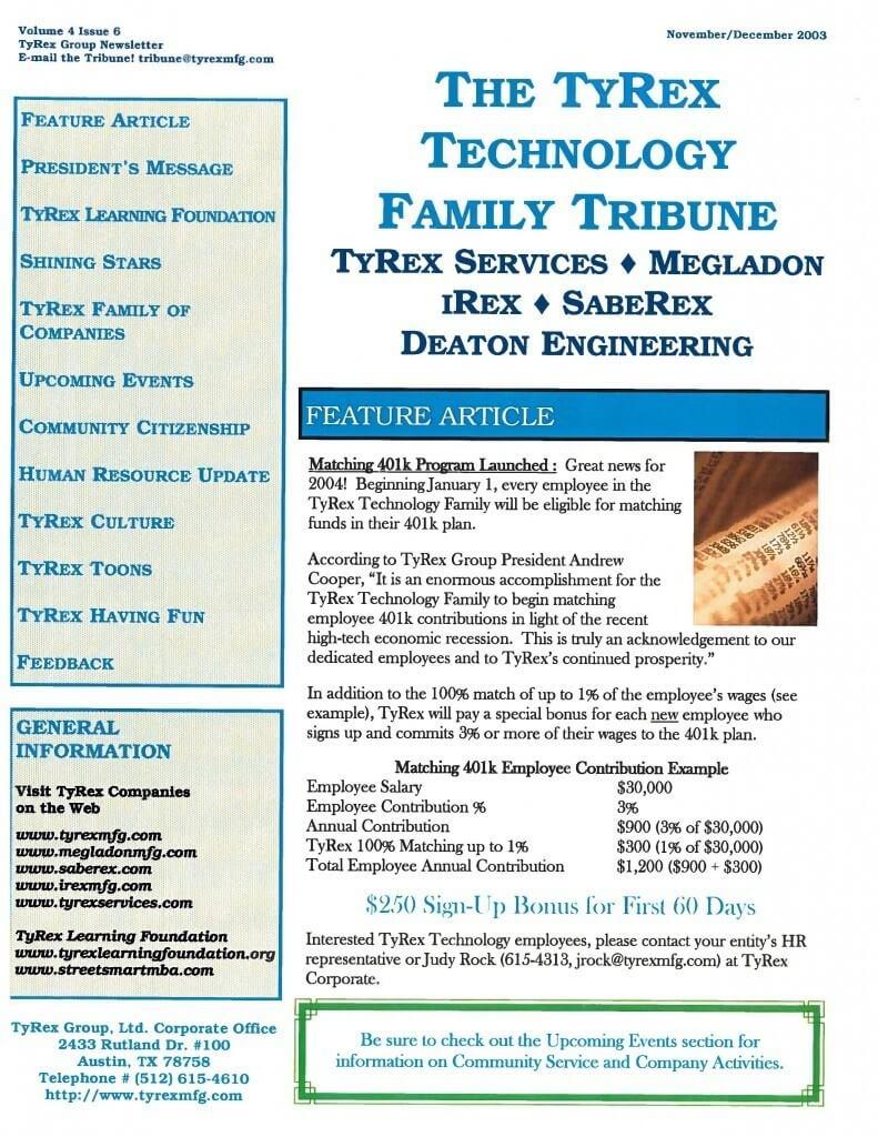 TyRex Newsletter: Nov-Dec (2003)