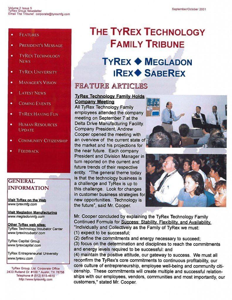 TyRex Newsletter: Sept-Oct (2001)